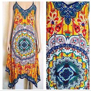 NWT Jealous Tomato Yellow Boho Printed Dress